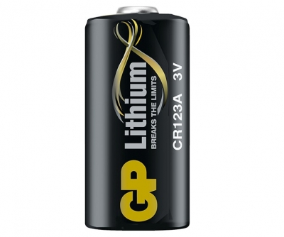 GP Batteries CR123A 3V Lithium Battery.