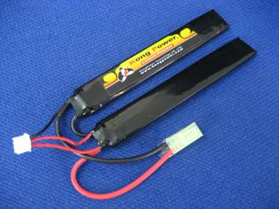 Kong Power 7.4v 1300mAh 20c LiPo Rechargeable Battery (Split Buffer Tube Pack)(Mini Tamiya)