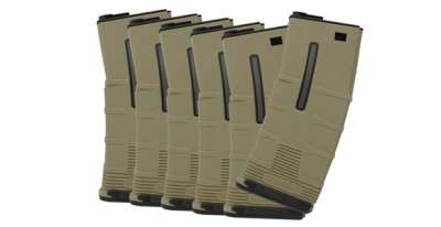 ICS M4/M16 T-Mag Mid-Cap Magazine (Box of 6)(Dark Earth)(180 rnd)