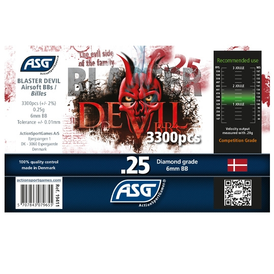 ASG Blaster Devil .25g BB's 3300 rnd Bottle (White)