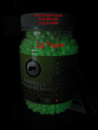 MadBull Precision .20g Dark Knight Tracer BB's 2000rnd Bottle (Green)